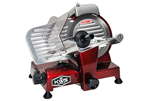 KWS MS-6RS Premium 200w Electric Meat Slicer 6-Inch in Red Stainless Steel Blade, Frozen Meat Deli Meat Cheese Food Slicer Low Noises Commercial and Home Use