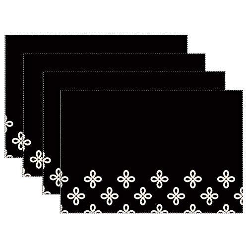 Yilooom Witte Bloem Geometrische Patroon Set Van 6 Hittebestendige Vlek Isolatie Plaats Matten Anti-slip Wasbaar Canvas Tafel Placemats Voor Chistmas Vakantie Decor 12 X 18 Inch