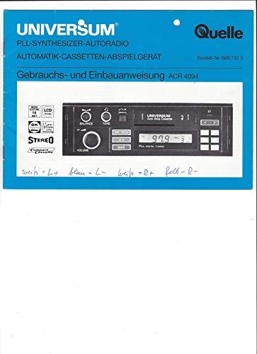 Universum Gebrauchs- und Einbauanweisung Autoradio ACR 4094