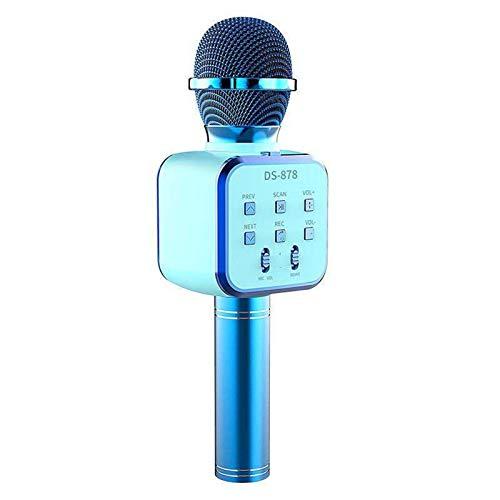 LOVEHOUGE Micrófono de karaoke inalámbrico Bluetooth, portátil para karaoke de mano, para niños, grabación de reproductor de canto para iPhone, Android, iPad, PC, azul