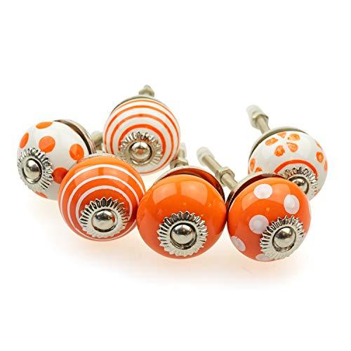 Jay Knopf AV102 - Set di pomelli piccoli per mobili, 6 pezzi, piccoli pomelli indiani dipinti a mano, in ceramica shabby (arancione/bianco)