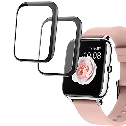 smaate 3D Screen Protector Compatible with Donerton, Popglory, CanMixs P22 1.4inch Hero Band III and Dirrelo, Fitpolo, Letscom GT01 1.55inch Smart Watch, 2-Pack, Full Coverage, Curved Edge frame