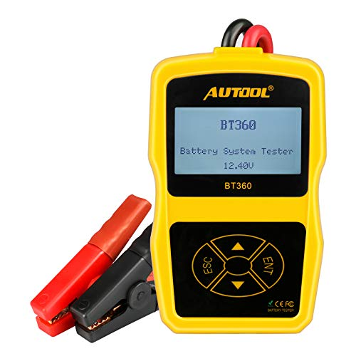 AUTOOL Car Tester Automotive Battery Regular Flooded,Auto Cranking and Charging System Diagnostic Analyzer Cover All 12V Vehicles,Boat