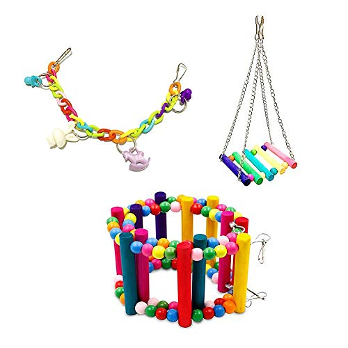 Sue Supply 3pcs Perroquet Jouet Perroquet Couleur échelle Morsure Jouet coloré Perles en Bois tournant Escalade échelle
