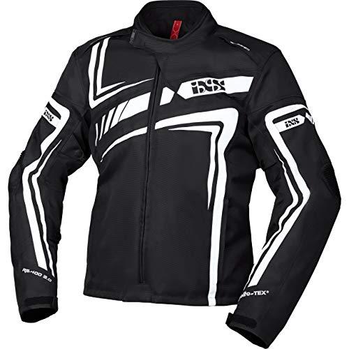 IXS Motorradjacke mit Protektoren Motorrad Jacke RS-400-ST 2.0 Sport Textiljacke schwarz/weiß XL, Herren, Sportler, Ganzjährig, Polyester