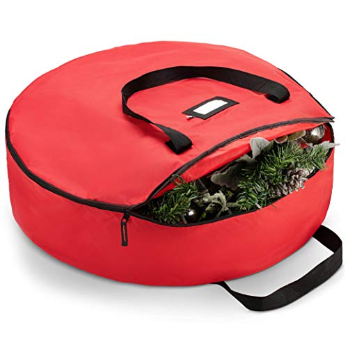 """ZOBER Premium Christmas Wreath Storage Bag 24"""" - Dual Zippered Storage Container & Durable Handles, Protect Artificial Wreaths - Holiday Xmas Bag Made of Tear Proof 600D Oxford - 5 Year Warranty"""