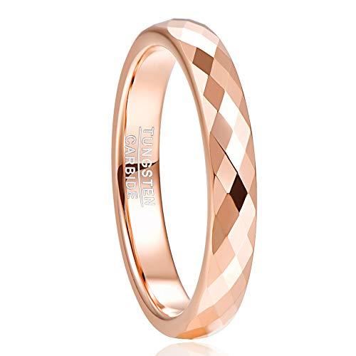 NUNCAD Ring Damen Mädchen Rosegold 4mm aus Wolfram Comfort Fit Design, Ring für Hochzeit, Verlobung und Partnerschaft Größe 56(16)