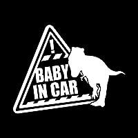 恐竜 Baby in car カッティングステッカー ホワイト 白