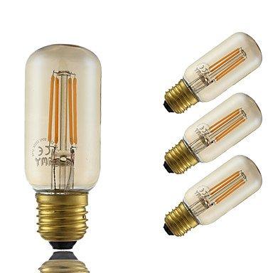 HZZymj-4W E26/E27 Ampoules à Filament LED T 4 COB 350 lm Ambre Gradable Décorative AC 100-240 V 4 pièces