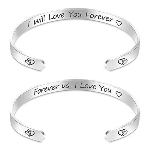 MIAHART 2Pcs Valentines Bracelets Inspirational Bracelets for Women Mom Girl Love You Forever Engraved Mantra Cuff Bangle Personalized Birthday Bracelets