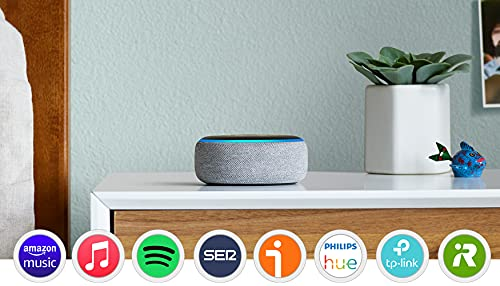Oferta de Echo Dot (3.ª generación) - Altavoz inteligente con Alexa, tela de color gris oscuro