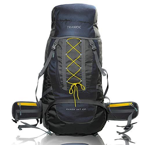 TRAWOC 60 Ltr Trekking Rucksack Travel Bag Hiking Backback, Navyblue (1 YEAR WARRANTY)
