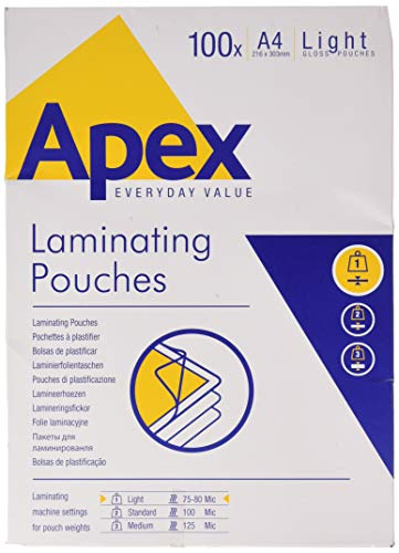 Fellowes Apex - Pack de 100 fundas de plastificar, formato A4, 75 micras