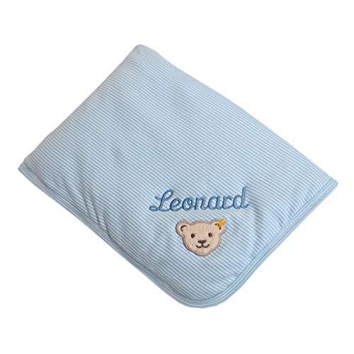 Steiff Babydecke mit Ihrem Wunsch Namen bestickt 90 cm x 60 cm hellblau fein geringelt personalisierte Namensdecke