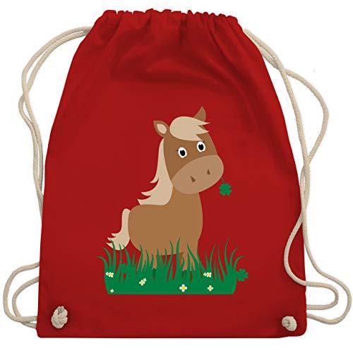Shirtracer Tiermotive Kind - Süßes Pferd - Unisize - Rot - turnbeutel maedchen - WM110 - Turnbeutel und Stoffbeutel aus Baumwolle
