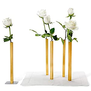 Silk Flower Arrangements PELEG DESIGN Magnetic Flower Vase Set, Unique and Modern Set of 5 Aluminum Vases for Home Garden Décor, Vase for Centerpieces, Gold