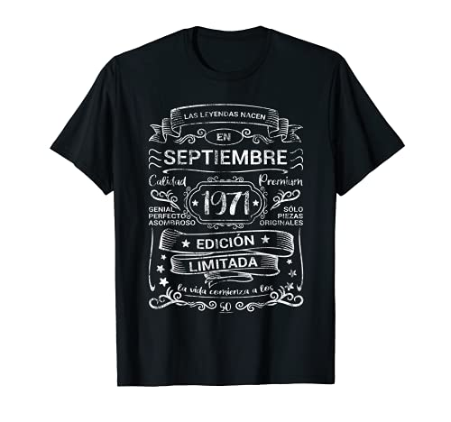 Leyendas Septiembre 1971 Hombre Mujer 50 Años Cumpleaños Camiseta