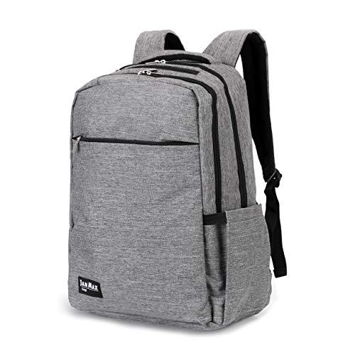 Jan Max Laptop Rucksack 15,6 Zoll Notebook Rucksack für Männer und Frauen Schule, Uni und Arbeit, grau