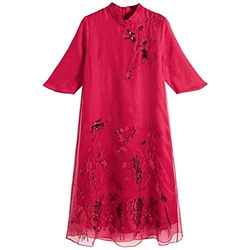 BINGQZ Rode linnen jurk vrouwelijke 2019 nieuwe lente nationale wind verbeterde cheongsam lange sectie gesp borduurwerk rok