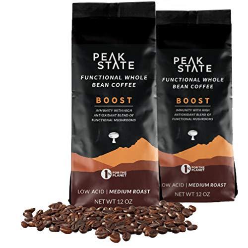 Peak State Coffee - Organic Functional Mushroom Coffee - Contains Reishi, Lion's Mane and Chaga Mushrooms - Improves Focus, Immune Support and Energy (2 x 12 oz Bags - BOOST Medium Roast)