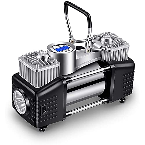 XIXIDIAN Bomba de compresor de Aire portátil del inflador de neumáticos, con Linterna LED, Bomba de Aire compacta 12V para neumáticos de automóviles