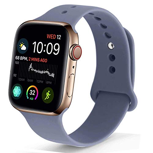 NUKELOLO Sport Band Compatible with Apple Watch 38MM 40MM, Soft Silicone Replacement Strap Compatible for Apple Watch Series 4/3/2/1 [Laveder Gray Color in S/M Size]