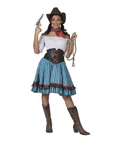 Generique - Cowgirl-Damenkostüm für eine Western-Party blau-braun M / L