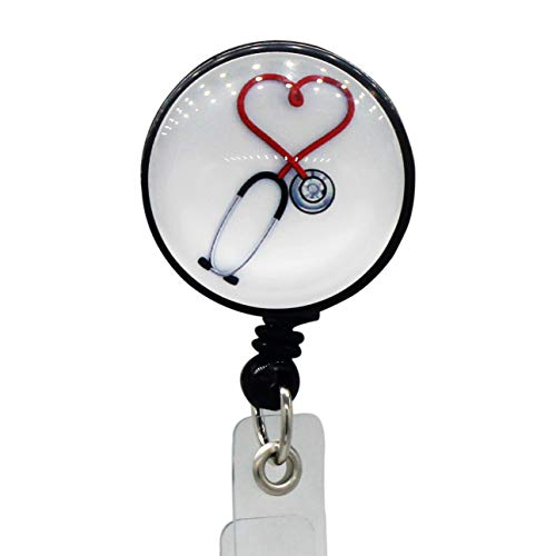 Decorative Heart Badge Holder with Retractable Cord for Nurse Work Badge, Name Card, Men & Women ID Card