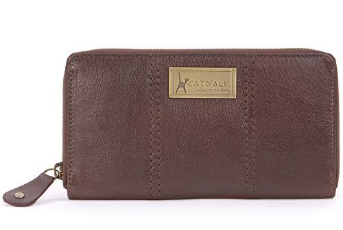 Catwalk Collection Handbags - Vera Pelle - Borsellino/Portafoglio/Portamonete da Donna - RFID Protezione - Scatola Regalo - Gallery Purse - MARRONE - RFID