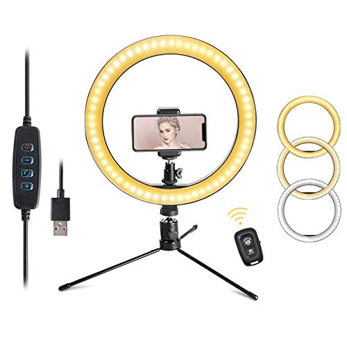 """LED 10.2"""" Desktop Selfie Ring Light with Tripod Stand &Remote Control &10 Brightness Level & 3 Light Modes and 120 Bulbs 6500k for YouTube Video/Live Stream/Makeup/Photography for iPhone Android"""