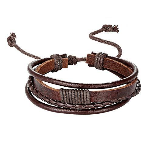 ESCYQ Mens Bracelets Bracelet,Men's Leather Bracelet Brown Braided...