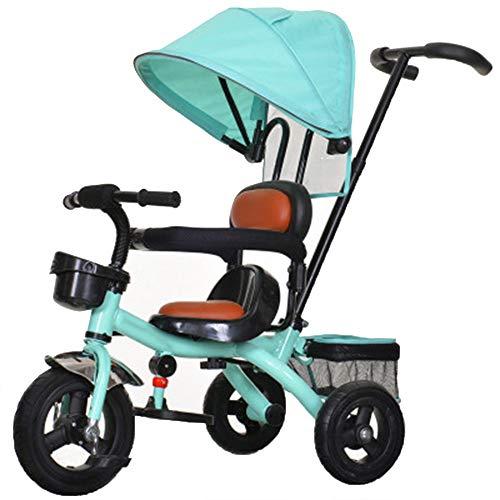 YUMEIGE driewieler kinderdriewieler met draaibare zitting 1-6 jaar oud verjaardagscadeau driewielgewicht 25 kg kinderwagen-kleinkind-trike met luifel (kleur: beige, mintgroen)