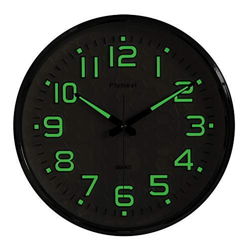 Plumeet Night Light Wall Clocks - 13 Inches Clock with Silent Non-Ticking Glowing Function - Good for Home Kitchen Bedroom - Large Number Battery Operated (Silver Shell, Green Light)