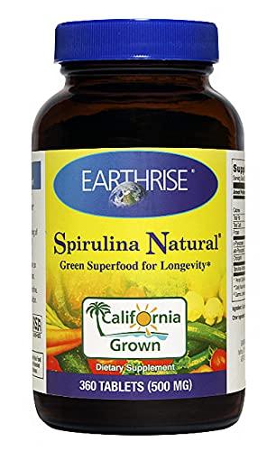 Earthrise ® Spirulina Natural 500mg Tablet 360 counts, Natural Premium Spirulina from California- Vegan, Gluten Free, Keto Friendly, Non -GMO Super Food high in vitamins & minerals.