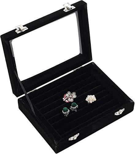 Wakerda Damen Schmuckkasten Schmuckkästchen Schmuckkoffer Display Schmuckbox Aufbewahrung Organizer für Ringe, Ohrringe, Manschettenknöpfe