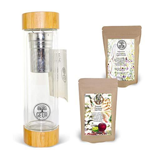 GEVA Vital Teebereiter to Go Tee Geschenkset für Frauen Männer Geschenkidee 2X Premium Tee 200g 1x Teeflasche 450ml