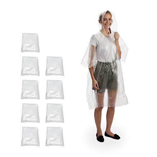 Relaxdays Regenponcho 10er Set, Überzug mit Kapuze, Einweg Regencape für Erwachsene, Unisex Regenschutz, PE, transparent