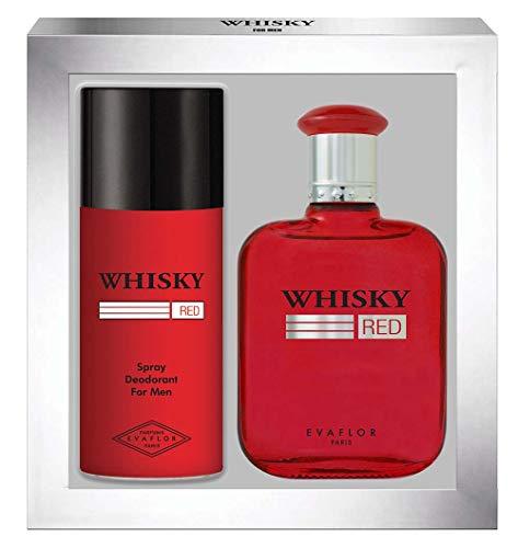 WHISKY Red • Coffret Eau de Toilette 100ML + Déodorant 15OML • Vaporisateur • Spray • Parfum Homme • Cadeau • EVAFLORPARIS