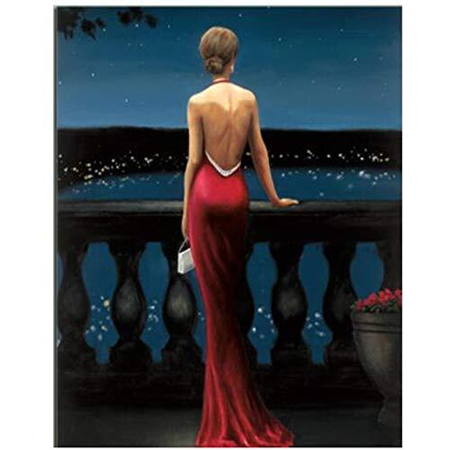 NIEMENGZHEN Druck auf Leinwand Digitaldruck Schöne Sexy Mädchen Leinwand Gemälde Nachtansicht Landschaft Poster Und Drucke Für Wohnzimmer Decor-60x90 cm Kein Rahmen