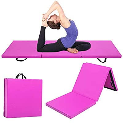 """2"""" Thick Tri-Fold Folding Exercise Mat with Carrying Handles for MMA, Gymnastics and Home Gym Protective Flooring for Yoga Pilates and Fitness"""