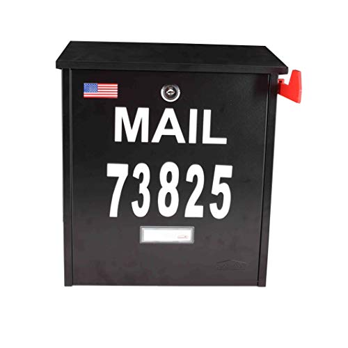 Wall Mount Locking Mailbox - Black Large Capacity Security Mailbox - Waterproof Stainless Steel Vertical Drop Mail Box Outdoor with Key