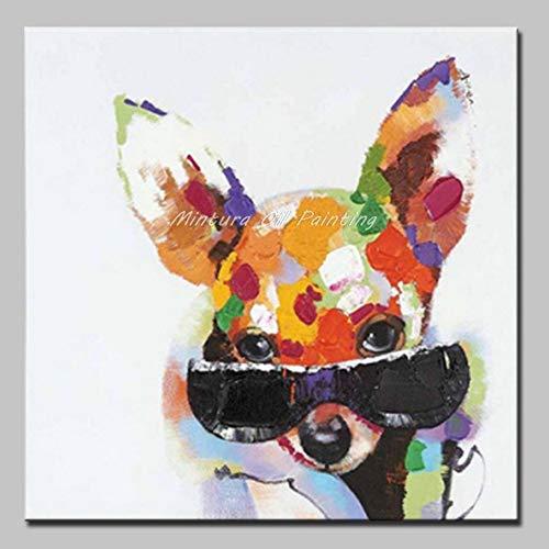 Pintado a mano pintura al óleo sobre lienzo.,Ojos Grandes Cachorro Con Gafas De Sol,Pintura Abstracta Moderna Animal,Salón Dormitorio Porche Restaurante Cafe Bar Studio Art Decoración Mural, Arte E