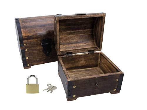 BGS Bauernkasse groß mit Schloss Schatzkiste Truhe Schatztruhe Holzbox Geschenk Deko Hochzeit Geburtstag Aufbewahren verschließbar abschließbar mit Deckel (Bauern GS 14x11x13 cm)