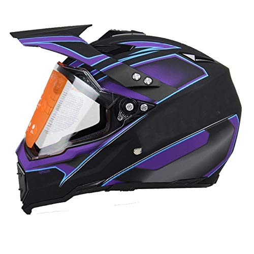 BUETR Casco off-road casco moto da corsa off-road casco quattro stagioni rally casco integrale casco integrale-2XL_Dumb nero viola