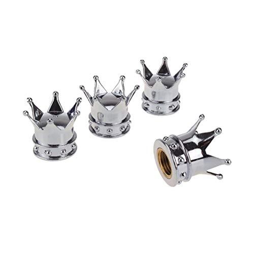 DSYCAR Stylish Crown Ventilkappen Fahrrad Motorrad Autoreifen Rad Ventilschaft Staubkappen für Auto Styling Dekoration - Set von 4