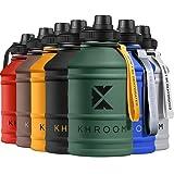 Khroom® Botella de Agua XXL de 2.2 litros de Acero Inoxidable | Adecuado �cido Carbónico | Libre de BPA | Botella de Fitness de 2L para deportes, gimnasia y ocio (Verde)
