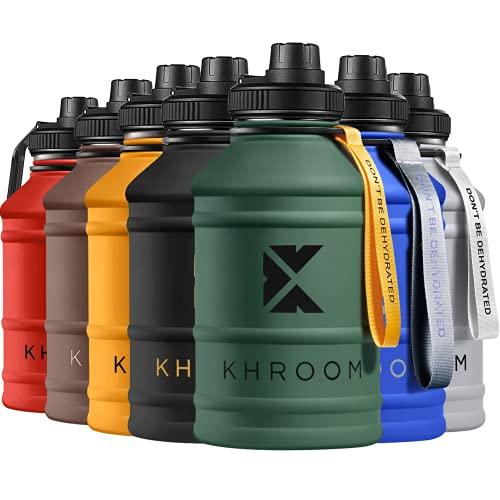 KHROOM gourde sport 2,2 litres étanche pour Le Sport, Le Fitness et Les activités en extérieur | gourde musculation 2l sans BPA ni DEHP | fitness XXL | Bouteille d'Eau en Acier (Vert)