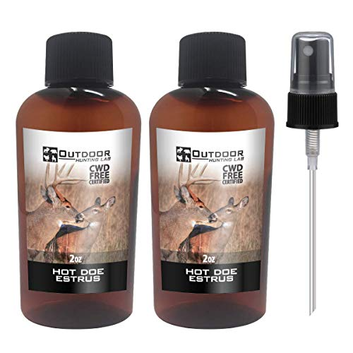 Outdoor Hunting Lab Hot Doe Estrus Buck Attractant Whitetail Lure Hunting Scent Real Urine Deer Pee Heat (2 Bottle)