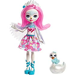 This adorable 6 inch enchantimals doll and her animal-bestie are inspired by the world of enchantimals, a magical place nestled deep in nature Saffi Swan doll comes with Poise swan figure they're always together and they look alike, too Saffi Swan...