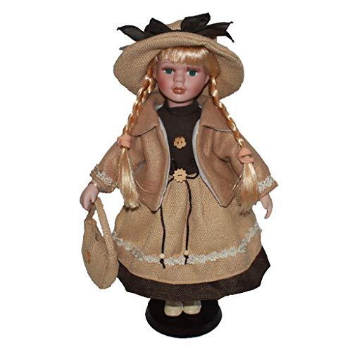 Non brand Vittoriana Bambola di Porcellana da Collezione Decorazione della Casa - Albicocca